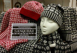Sanquhar Pattern hats and scarves in A' the Airts crafts shop.
