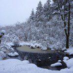 Dalbeattie loch covered in snow