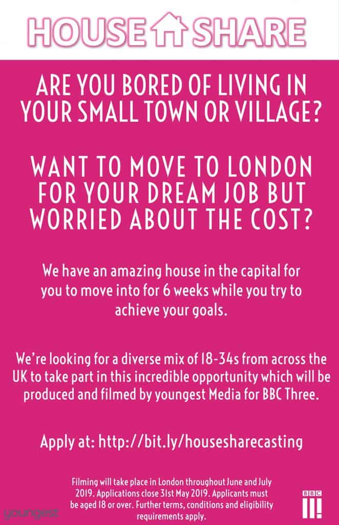 Are You Ready To House Share Live on Brand New BBC TV Show?