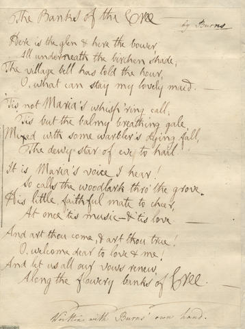 Burns Manuscript 'The Banks of the Cree' Sells for £ 27,750