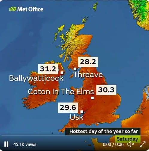 Castle Douglas Reaches Warmest Temperature as Extreme heat warning issued